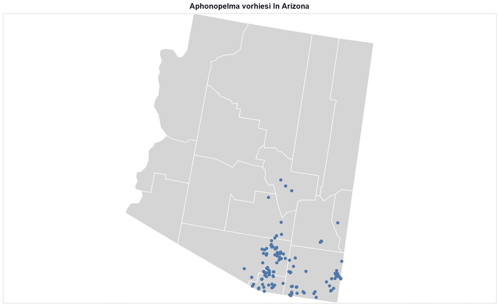 Aphonopelma vorhiesi map