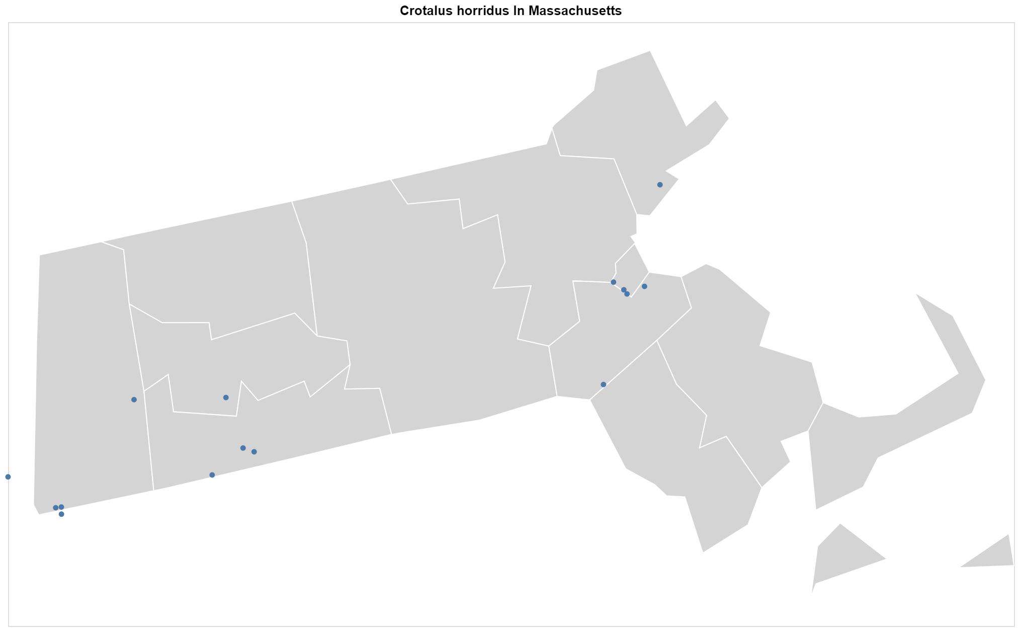 Crotalus horridus Massachusetts map
