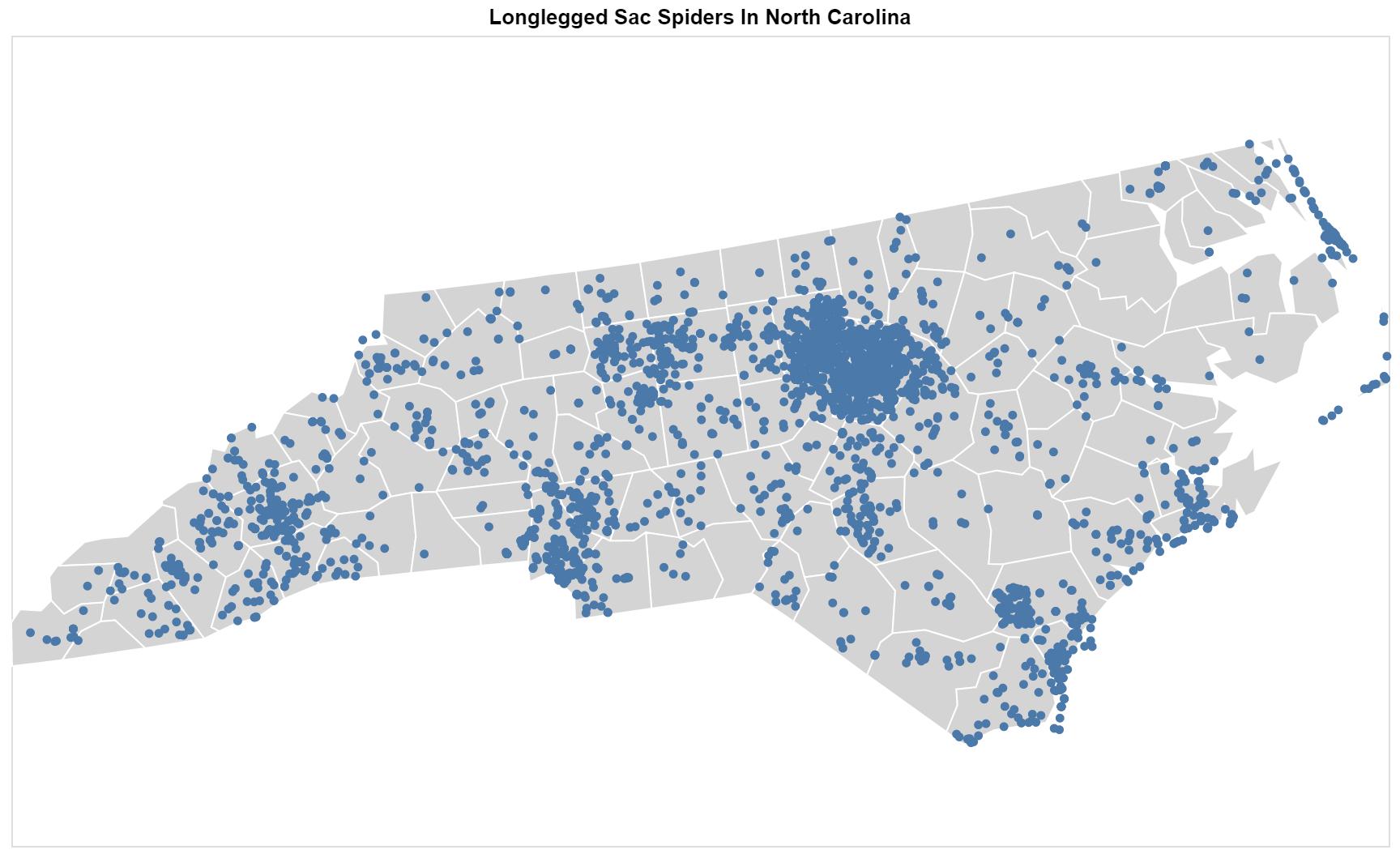 Lycosidae North Carolina map