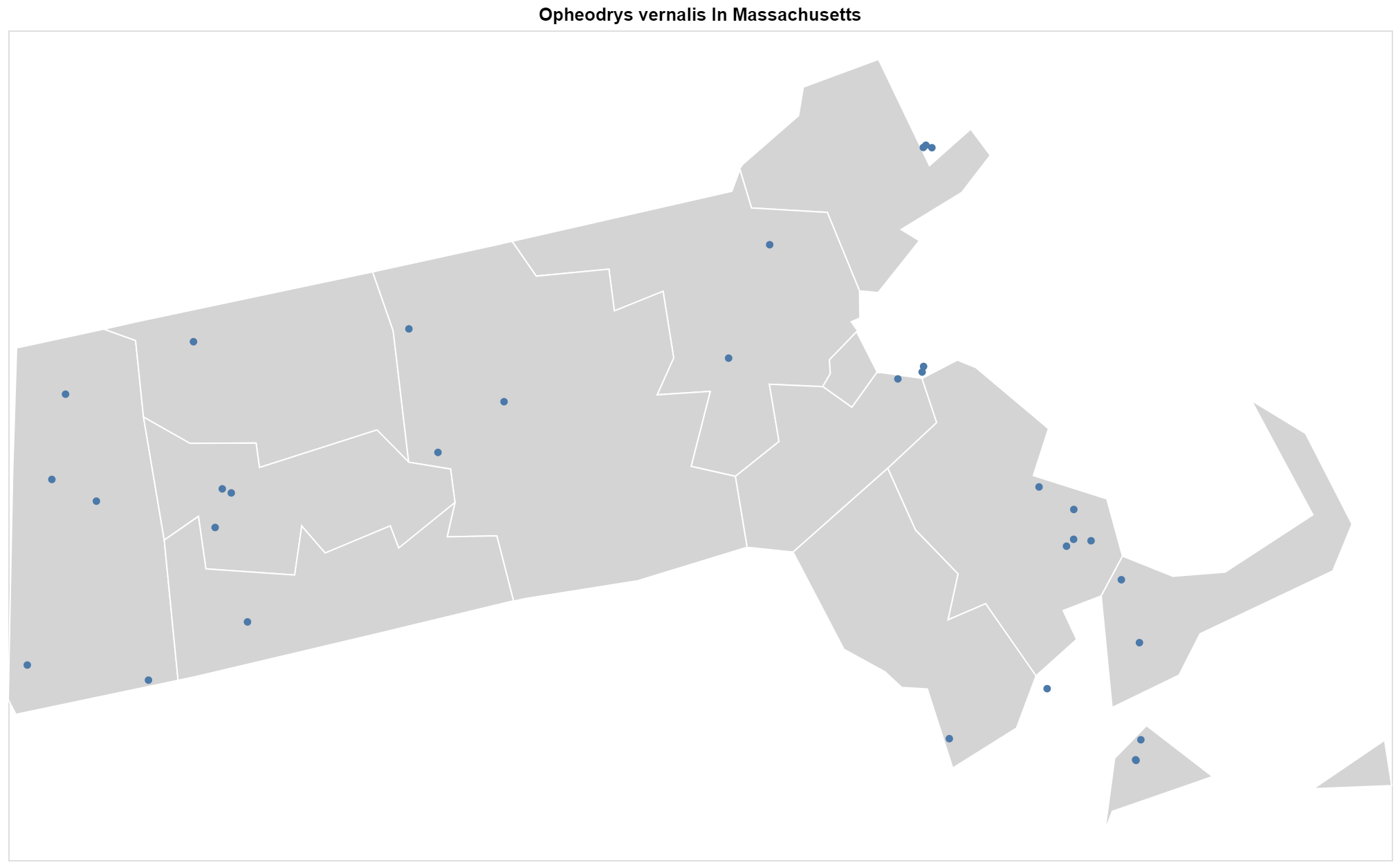 Opheodrys vernalis Massachusetts map